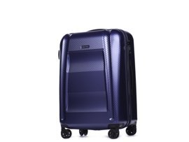 Średnia walizka PUCCINI PC017 New York granatowa